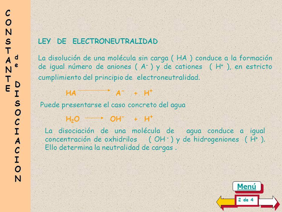 CONSTANTE LEY DE ELECTRONEUTRALIDAD