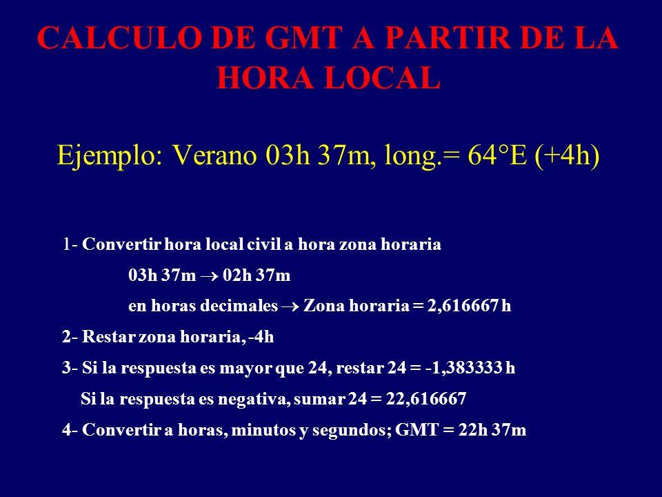CALCULO DE GMT A PARTIR DE LA HORA LOCAL Ejemplo: Verano 03h 37m, long