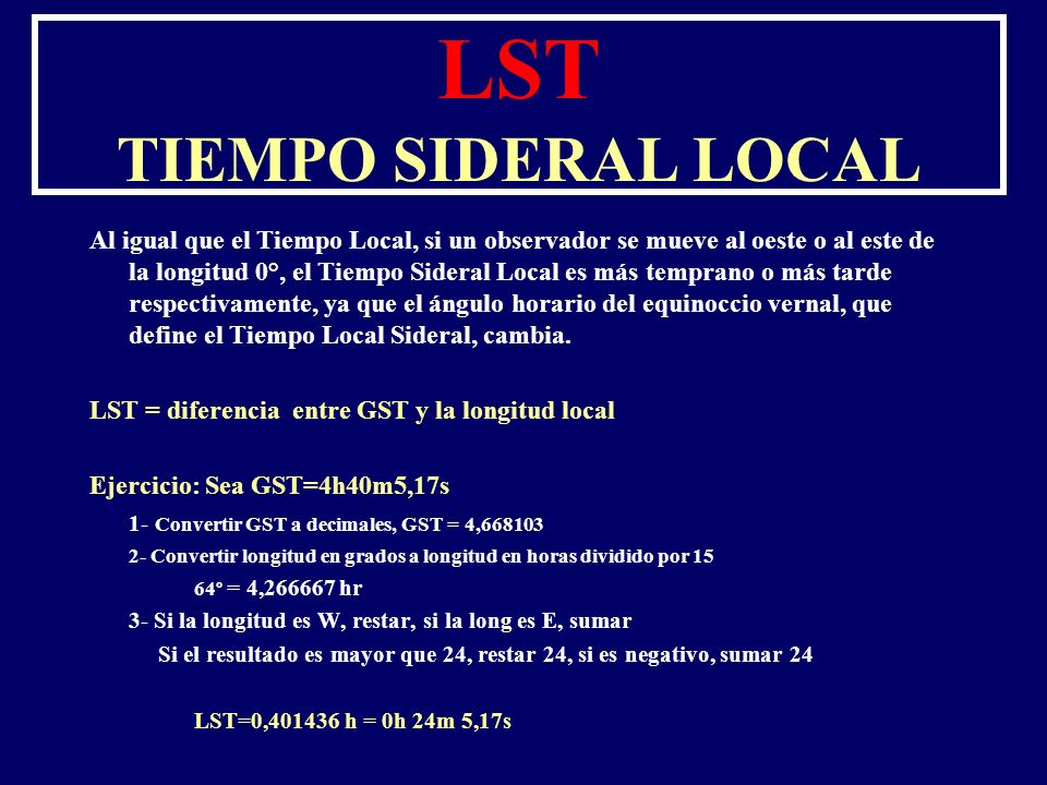 LST TIEMPO SIDERAL LOCAL