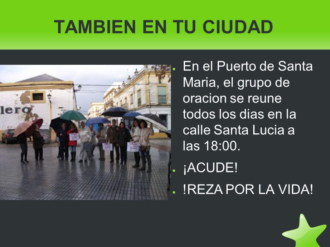 TAMBIEN EN TU CIUDAD En el Puerto de Santa Maria, el grupo de oracion se reune todos los dias en la calle Santa Lucia a las 18:00.