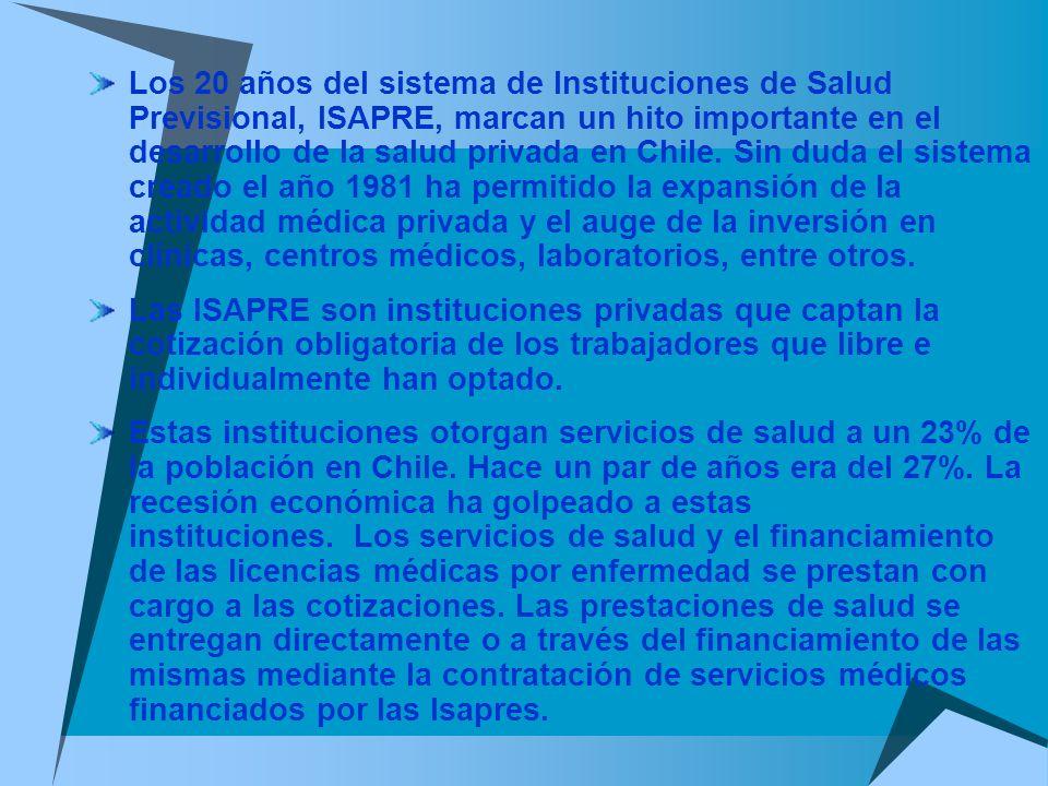 Los 20 años del sistema de Instituciones de Salud Previsional, ISAPRE, marcan un hito importante en el desarrollo de la salud privada en Chile. Sin duda el sistema creado el año 1981 ha permitido la expansión de la actividad médica privada y el auge de la inversión en clínicas, centros médicos, laboratorios, entre otros.