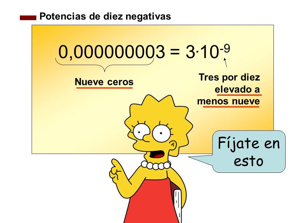 0,000000003 = 3.10-9 Fíjate en esto Potencias de diez negativas