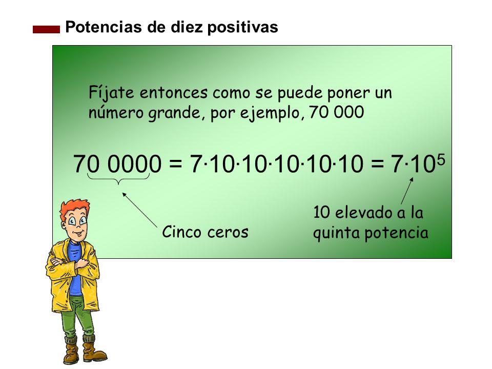 70 0000 = 7.10.10.10.10.10 = 7.105 Potencias de diez positivas