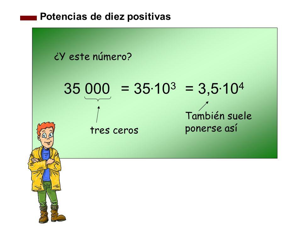 35 000 = 35.103 = 3,5.104 Potencias de diez positivas ¿Y este número