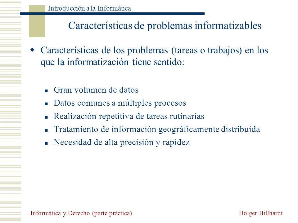 Características de problemas informatizables