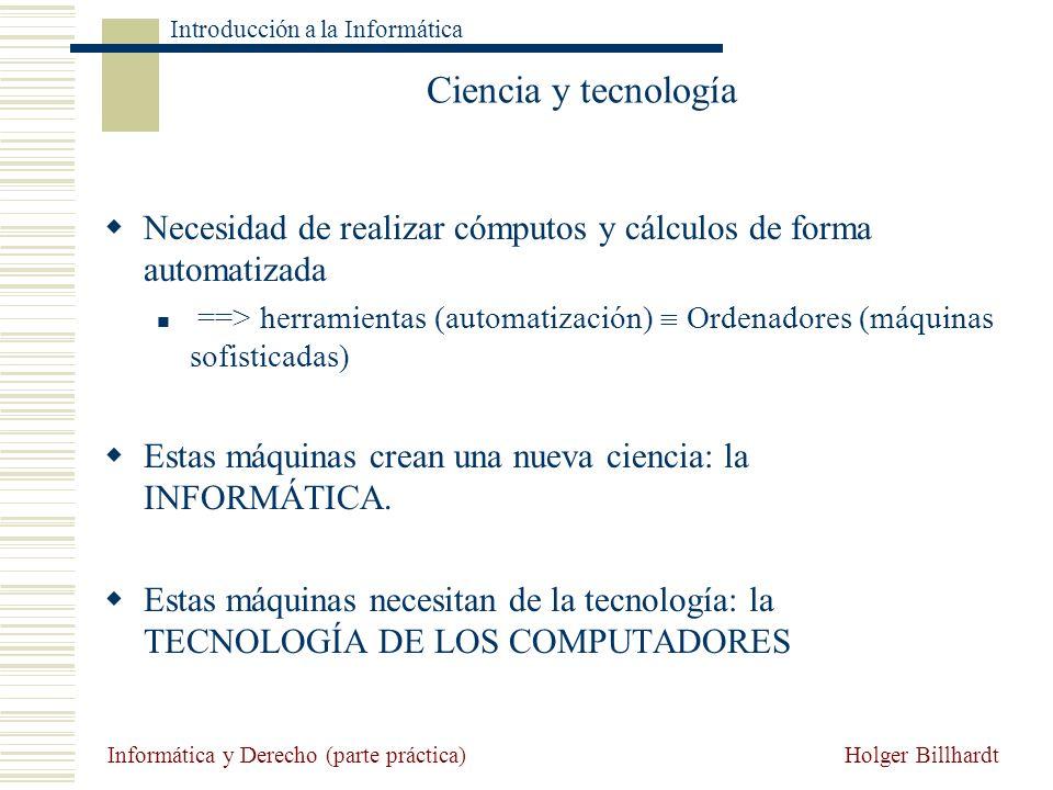Ciencia y tecnología Necesidad de realizar cómputos y cálculos de forma automatizada.