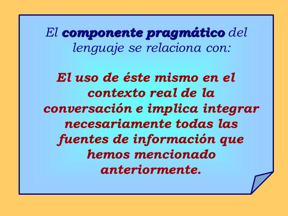 El componente pragmático del lenguaje se relaciona con:
