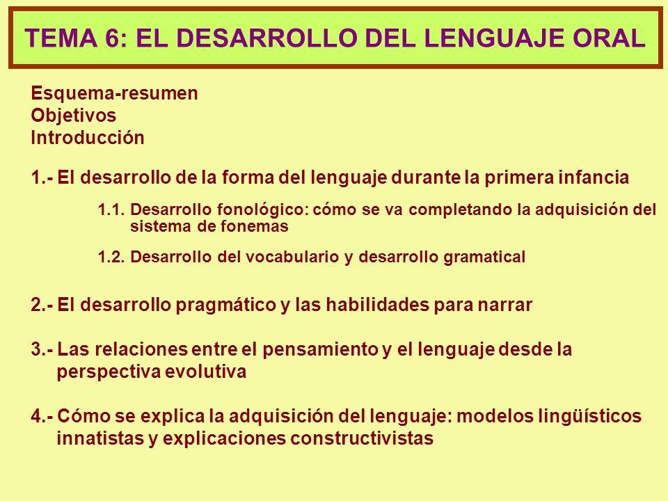 TEMA 6: EL DESARROLLO DEL LENGUAJE ORAL