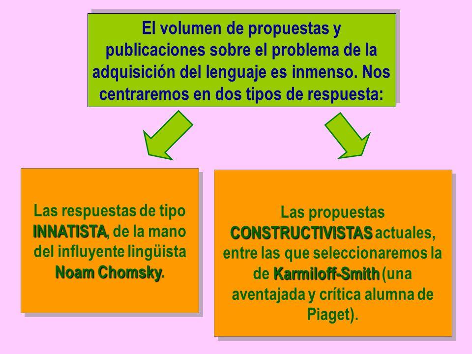 El volumen de propuestas y publicaciones sobre el problema de la adquisición del lenguaje es inmenso. Nos centraremos en dos tipos de respuesta: