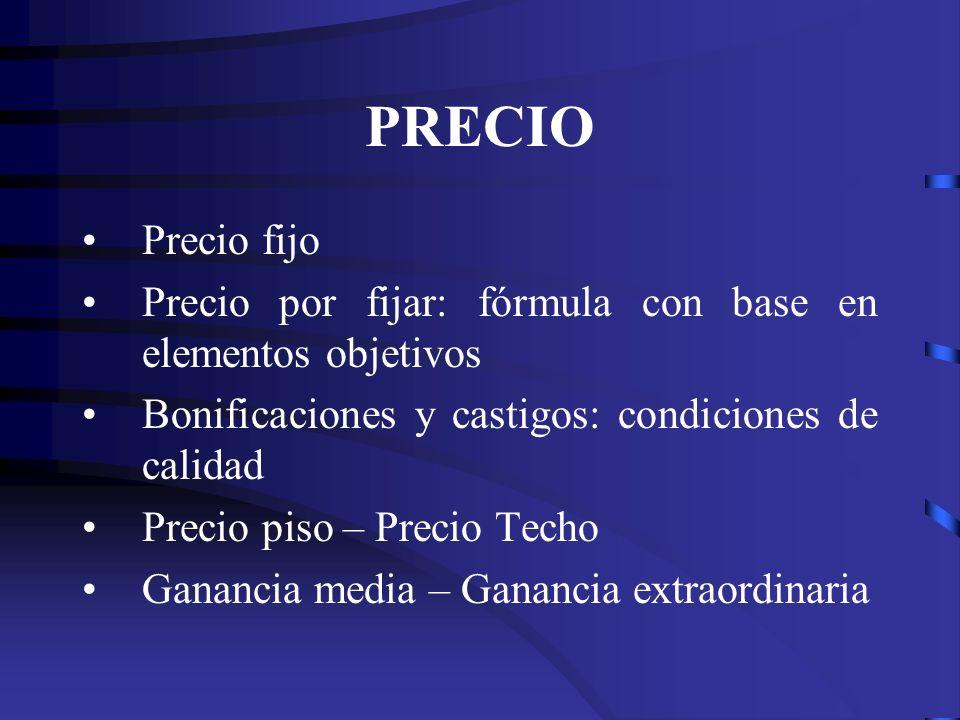 PRECIO Precio fijo. Precio por fijar: fórmula con base en elementos objetivos. Bonificaciones y castigos: condiciones de calidad.