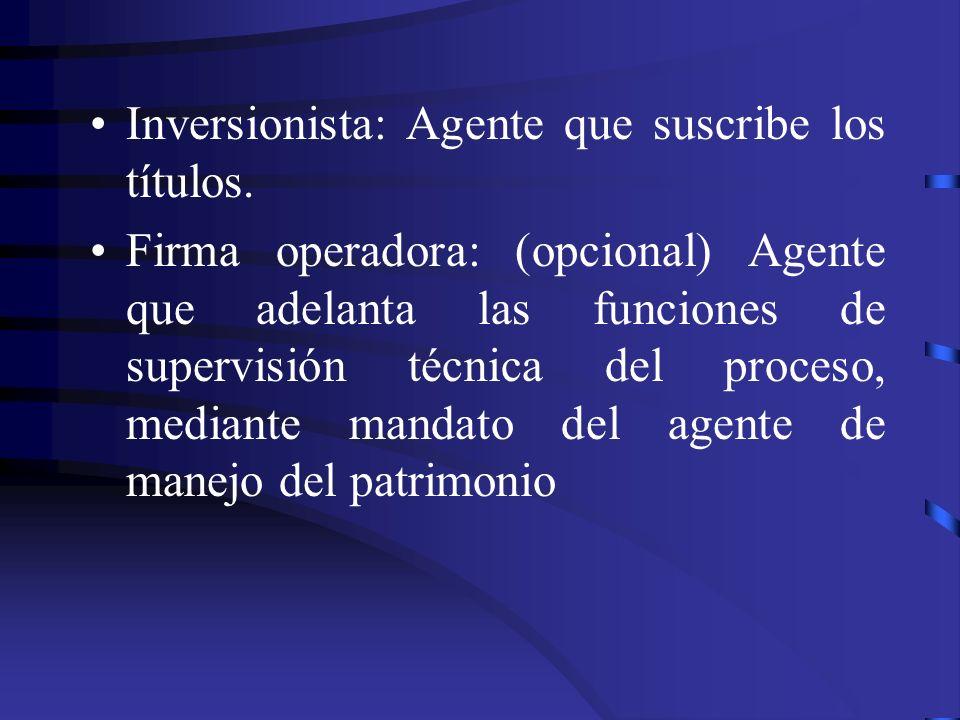 Inversionista: Agente que suscribe los títulos.