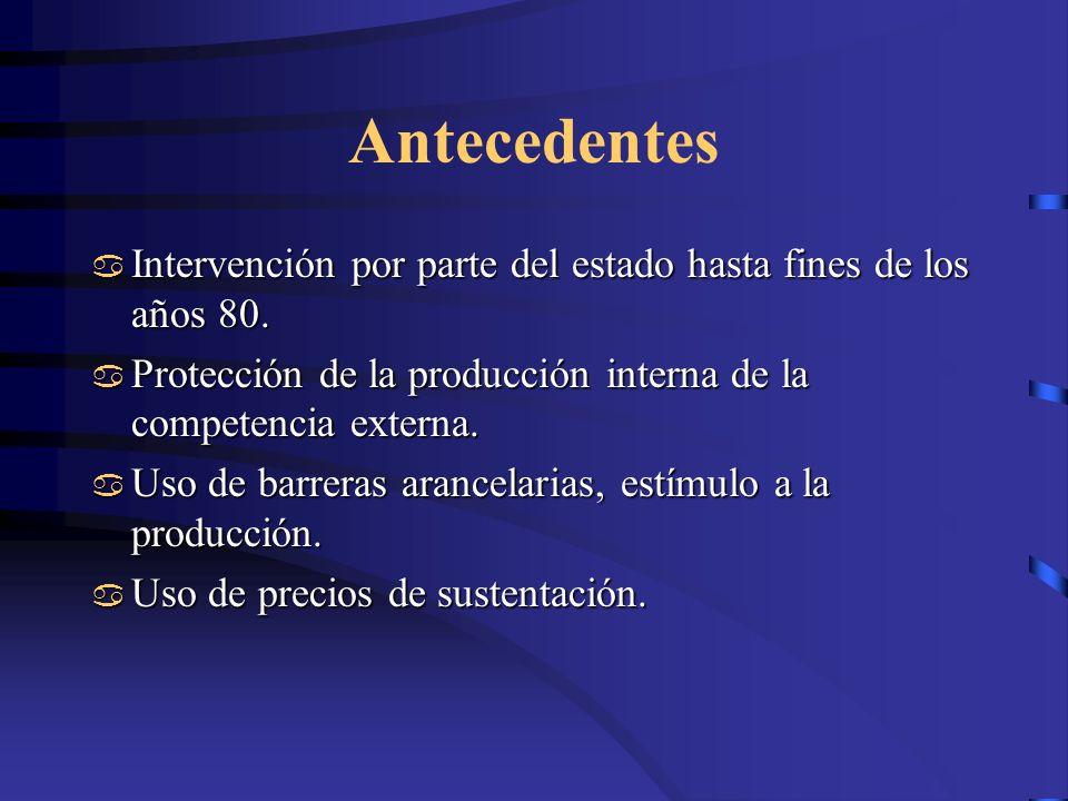 Antecedentes Intervención por parte del estado hasta fines de los años 80. Protección de la producción interna de la competencia externa.