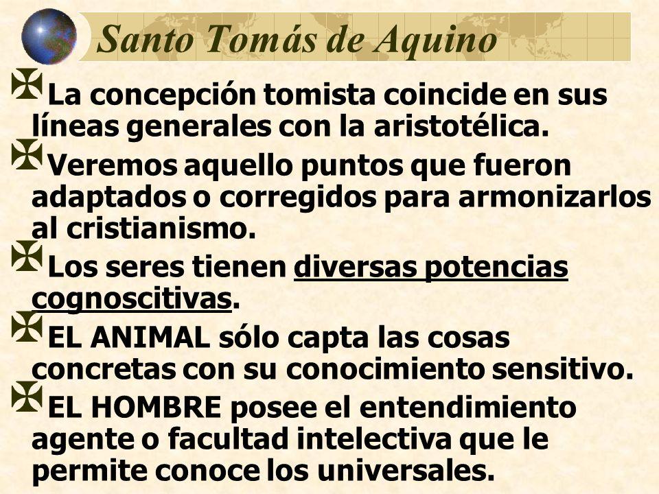Santo Tomás de Aquino La concepción tomista coincide en sus líneas generales con la aristotélica.