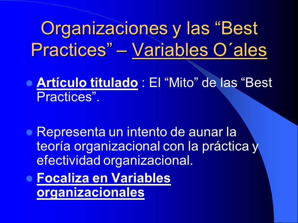 Organizaciones y las Best Practices – Variables O´ales