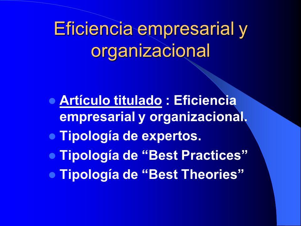 Eficiencia empresarial y organizacional