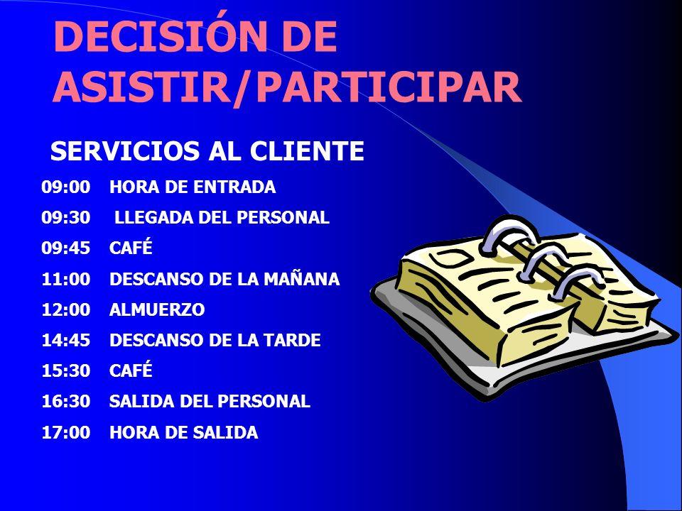 DECISIÓN DE ASISTIR/PARTICIPAR