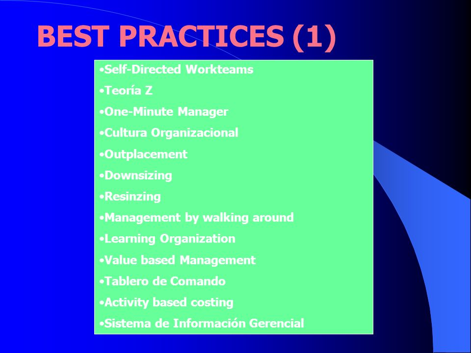 BEST PRACTICES (1) Self-Directed Workteams Teoría Z One-Minute Manager