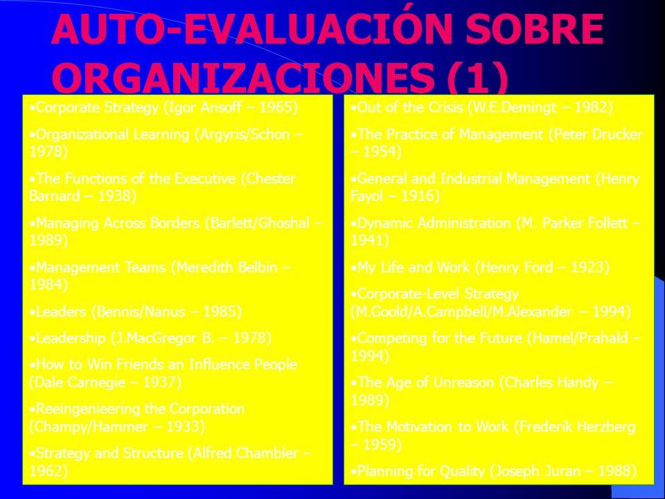 AUTO-EVALUACIÓN SOBRE ORGANIZACIONES (1)