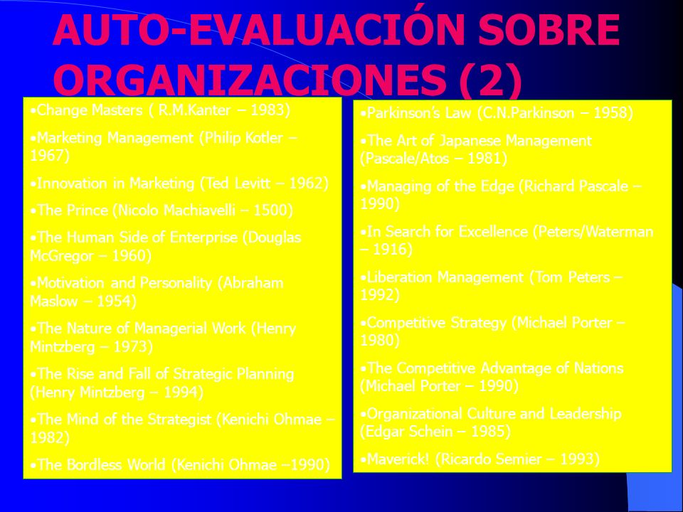 AUTO-EVALUACIÓN SOBRE ORGANIZACIONES (2)