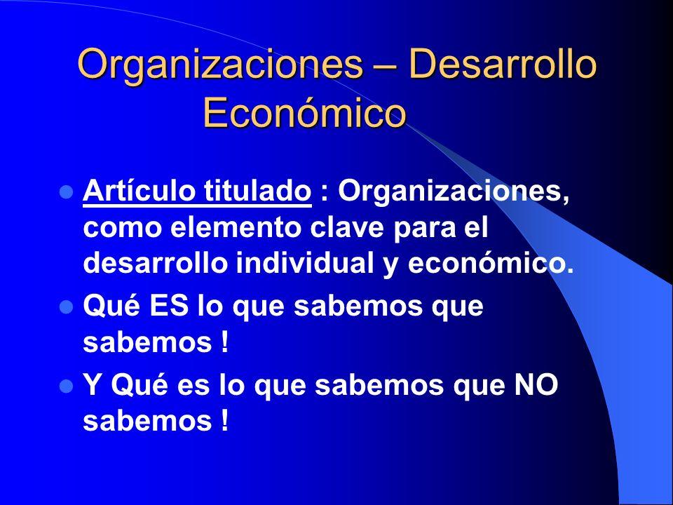 Organizaciones – Desarrollo Económico