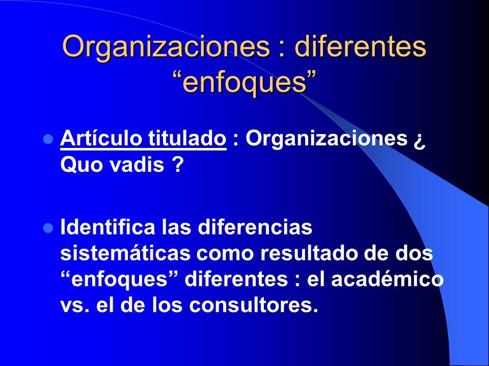 Organizaciones : diferentes enfoques
