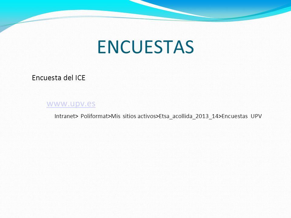 ENCUESTAS www.upv.es Encuesta del ICE