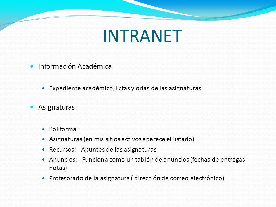 INTRANET Información Académica Asignaturas: