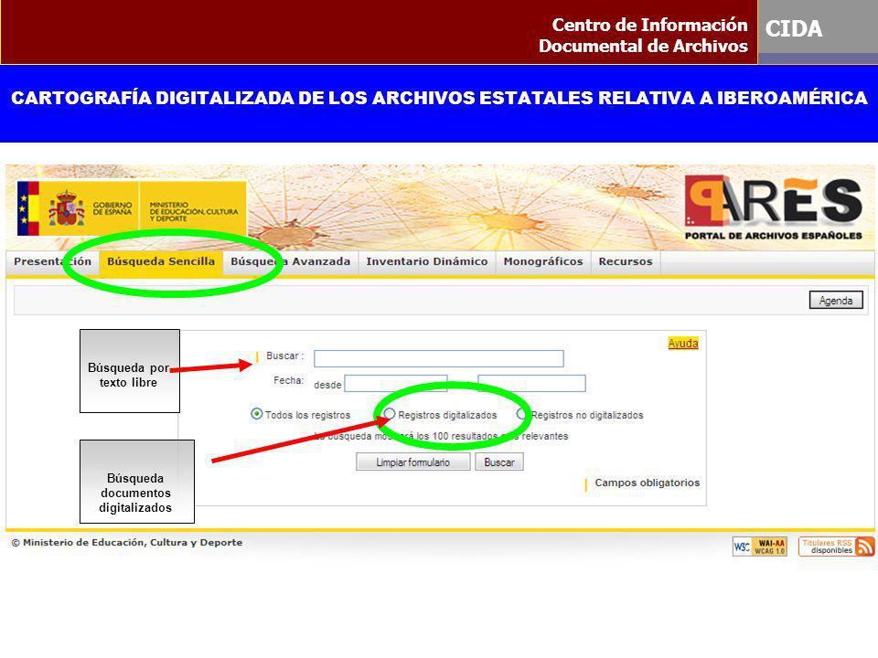 Búsqueda por texto libre Búsqueda documentos digitalizados