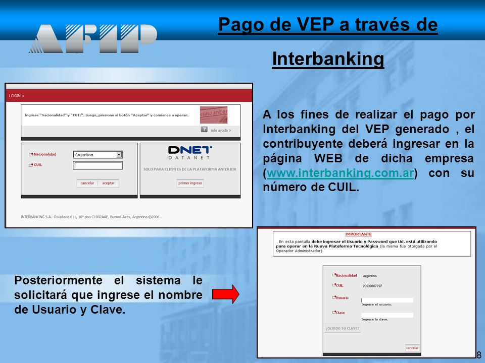 Pago de VEP a través de Interbanking