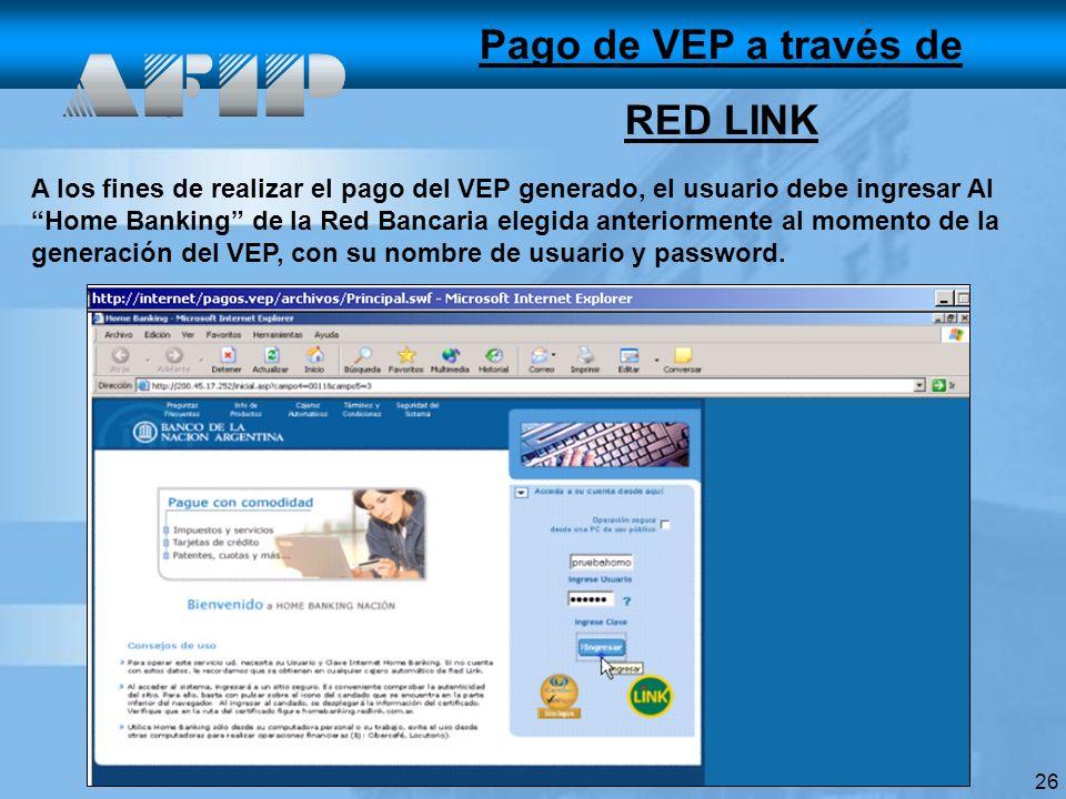 Pago de VEP a través de RED LINK