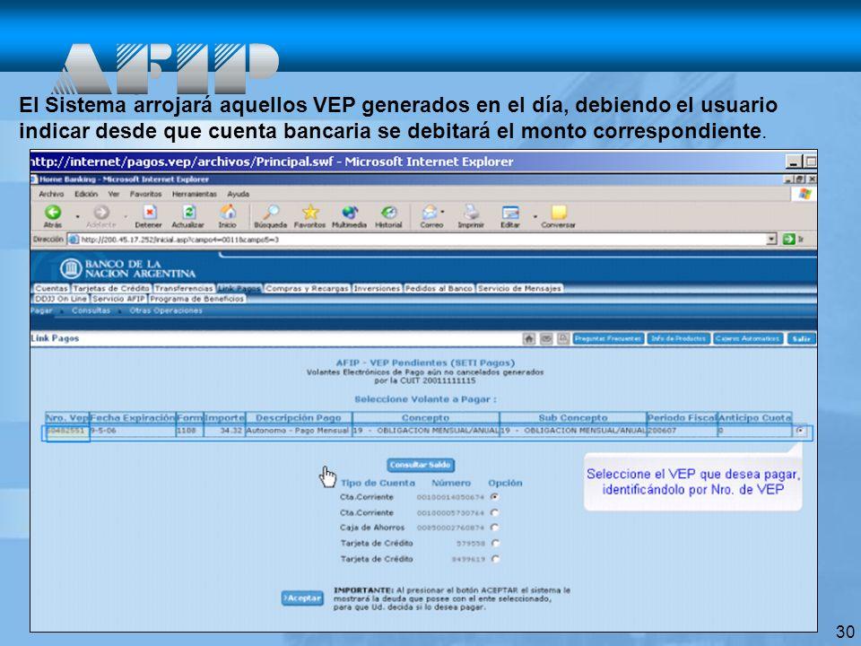 El Sistema arrojará aquellos VEP generados en el día, debiendo el usuario indicar desde que cuenta bancaria se debitará el monto correspondiente.