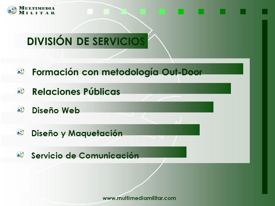 DIVISIÓN DE SERVICIOS Formación con metodología Out-Door. Relaciones Públicas. Diseño Web. Diseño y Maquetación.