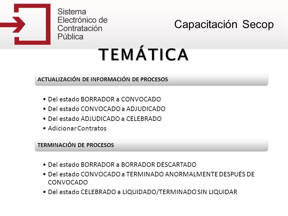 TEMÁTICA Del estado BORRADOR a CONVOCADO