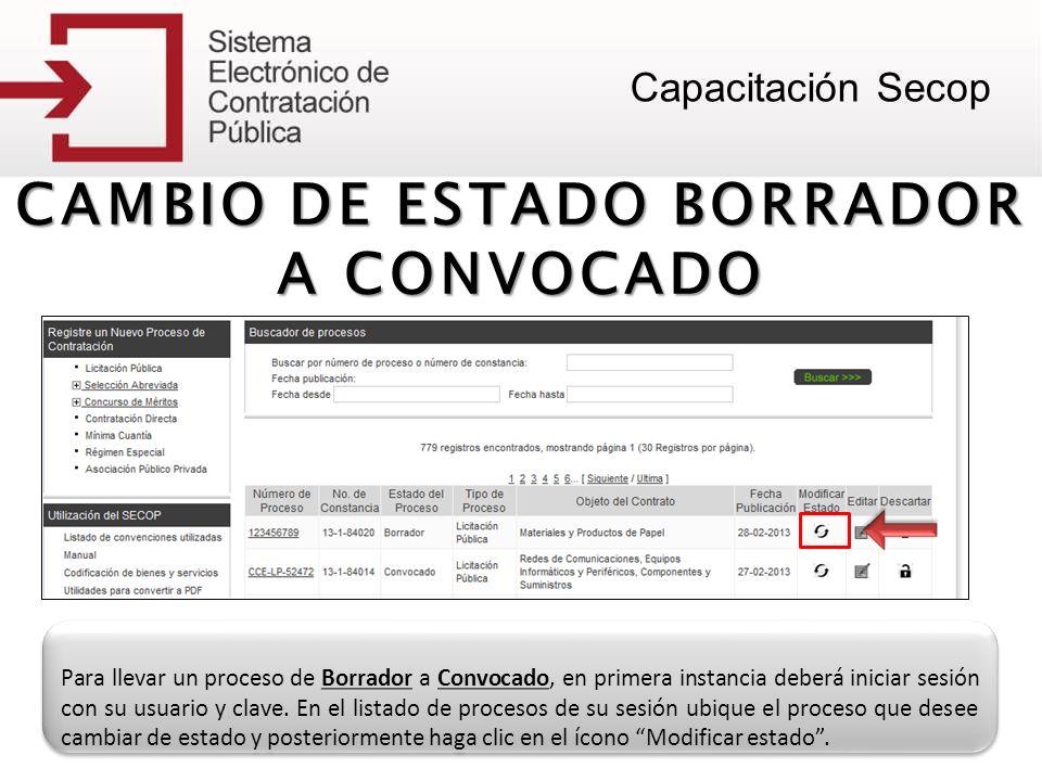 CAMBIO DE ESTADO BORRADOR A CONVOCADO