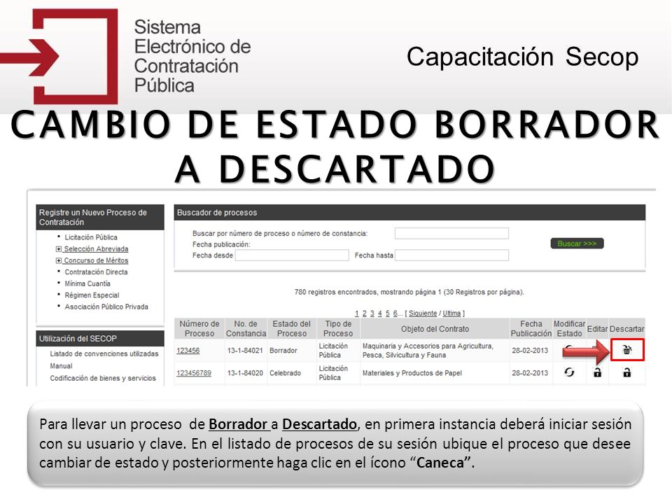 CAMBIO DE ESTADO BORRADOR A DESCARTADO