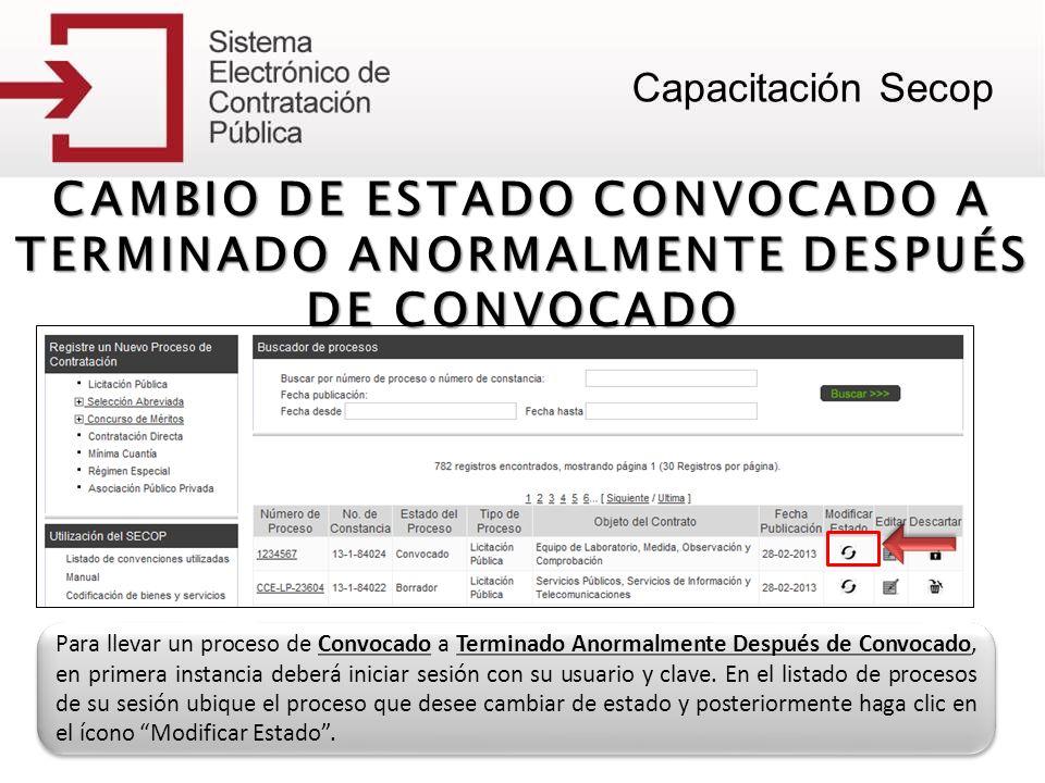 CAMBIO DE ESTADO CONVOCADO A TERMINADO ANORMALMENTE DESPUÉS DE CONVOCADO