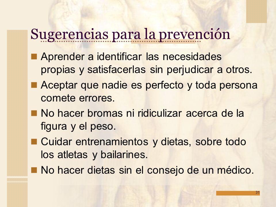 Sugerencias para la prevención