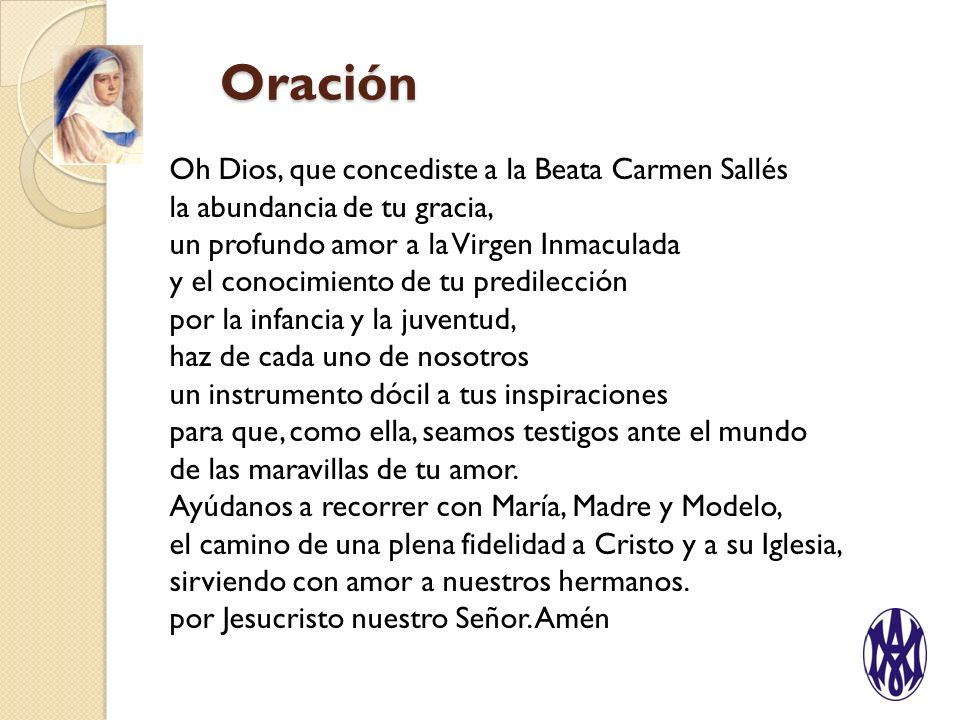Oración Oh Dios, que concediste a la Beata Carmen Sallés