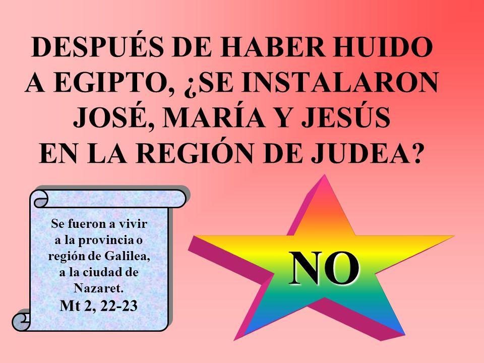 DESPUÉS DE HABER HUIDO A EGIPTO, ¿SE INSTALARON JOSÉ, MARÍA Y JESÚS EN LA REGIÓN DE JUDEA
