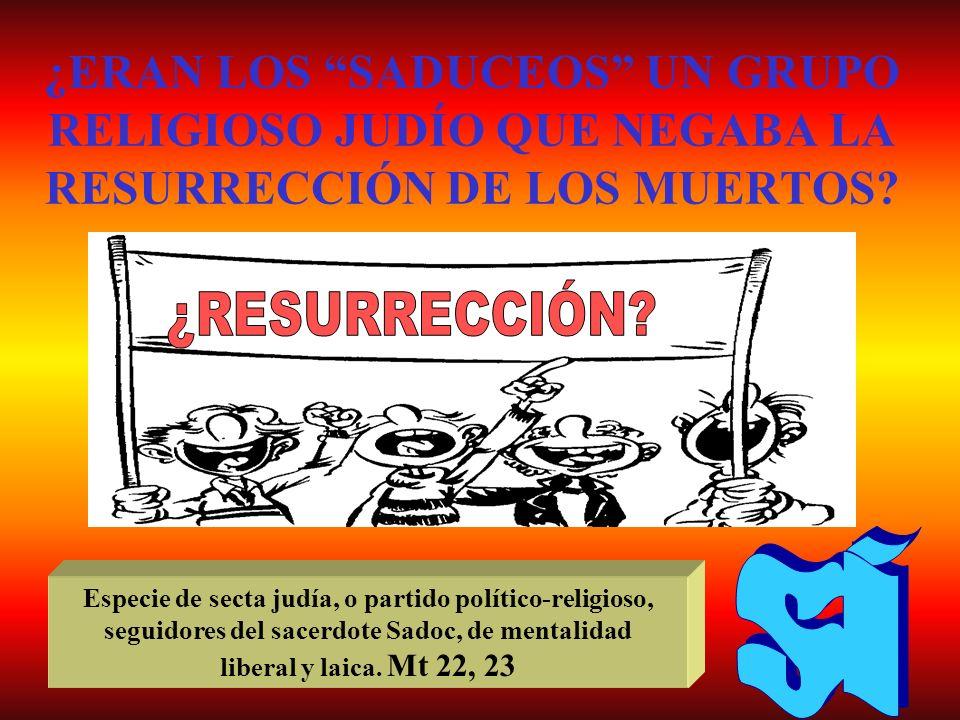 ¿ERAN LOS SADUCEOS UN GRUPO RELIGIOSO JUDÍO QUE NEGABA LA RESURRECCIÓN DE LOS MUERTOS