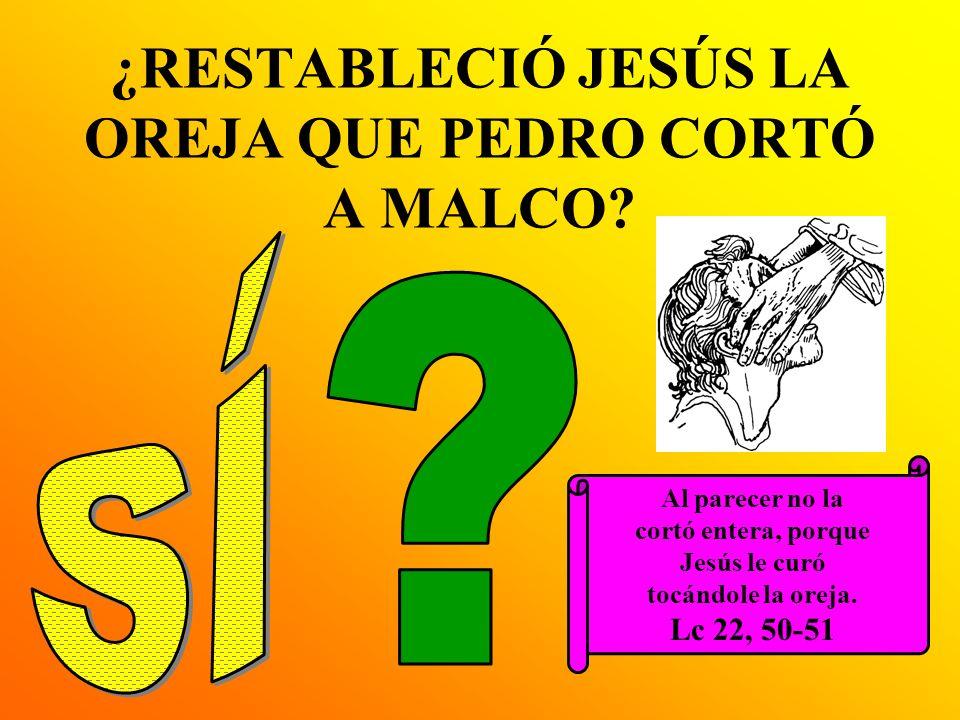 ¿RESTABLECIÓ JESÚS LA OREJA QUE PEDRO CORTÓ A MALCO