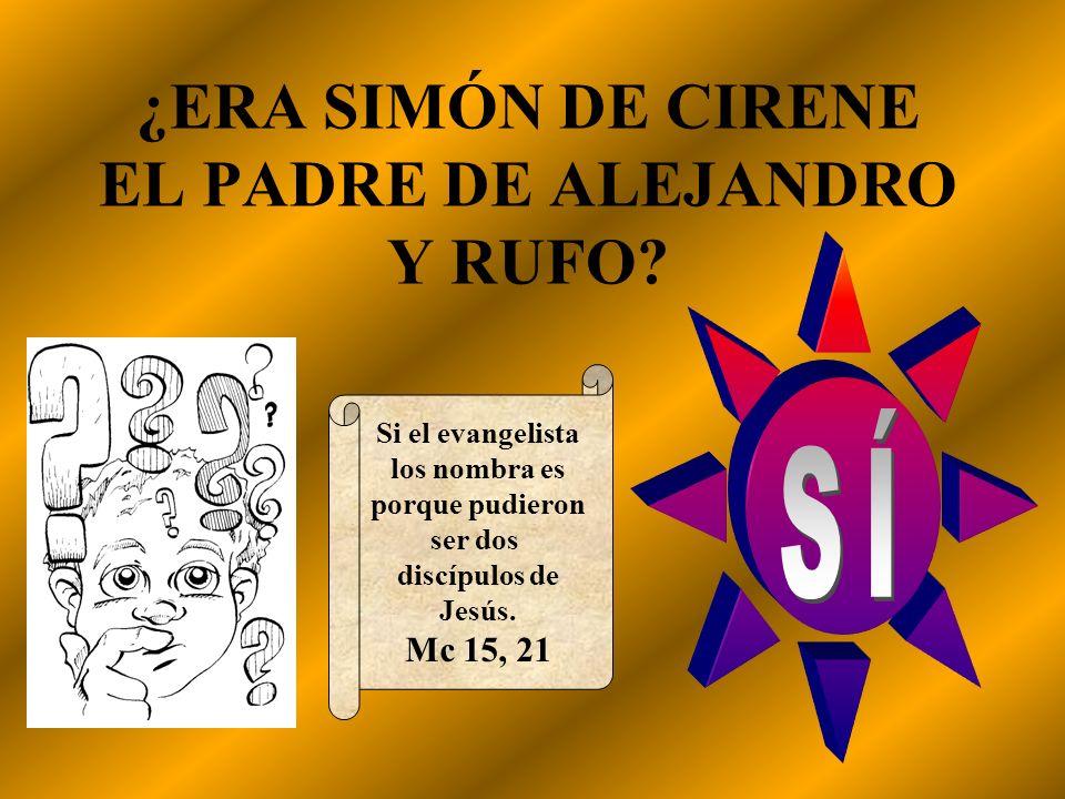 ¿ERA SIMÓN DE CIRENE EL PADRE DE ALEJANDRO Y RUFO