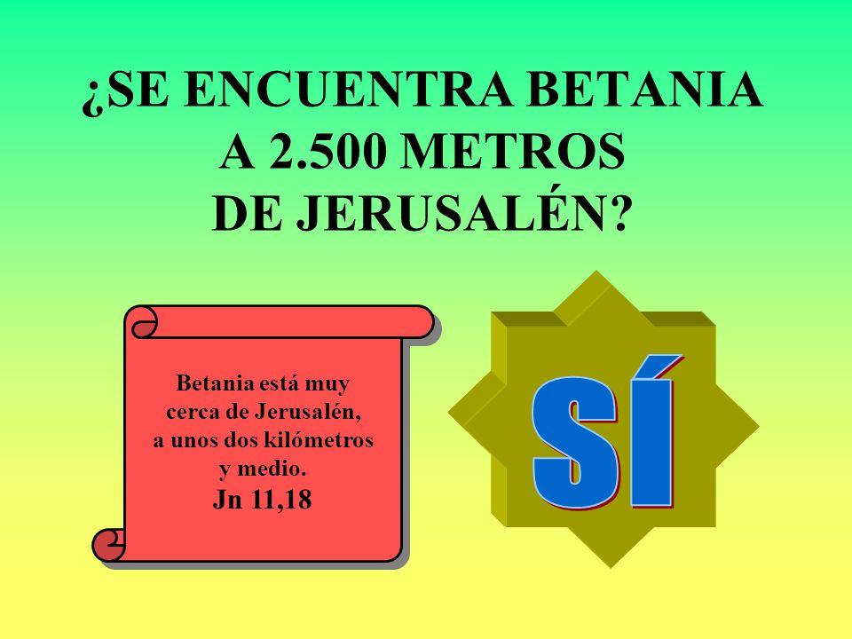 ¿SE ENCUENTRA BETANIA A 2.500 METROS DE JERUSALÉN