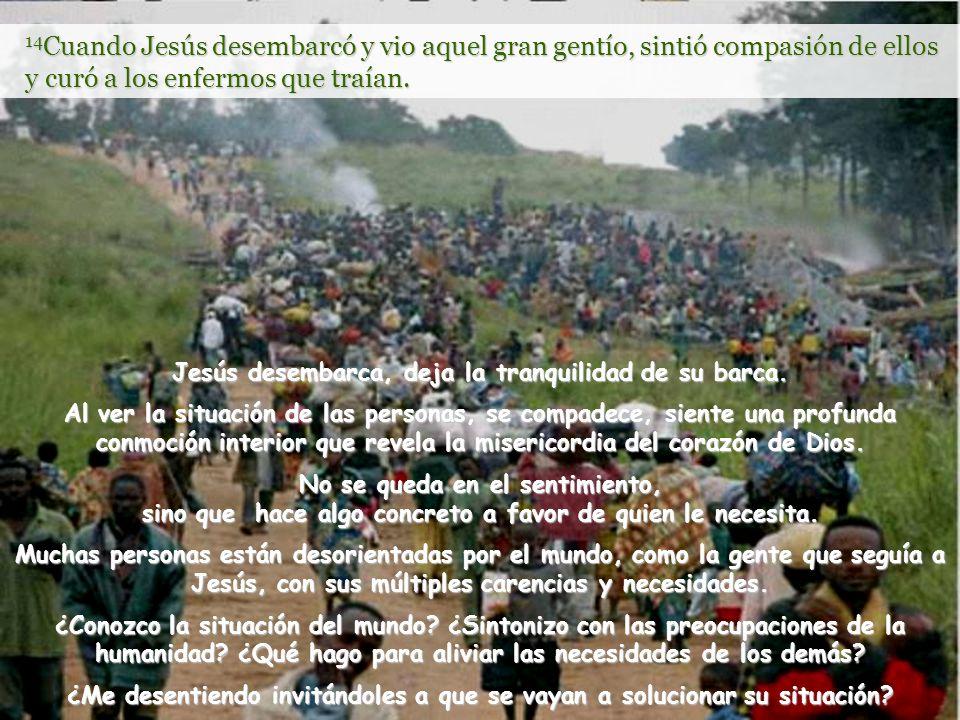 14Cuando Jesús desembarcó y vio aquel gran gentío, sintió compasión de ellos y curó a los enfermos que traían.