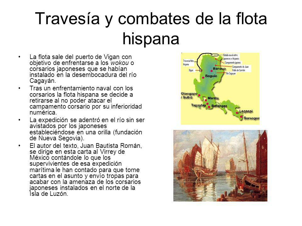 Travesía y combates de la flota hispana