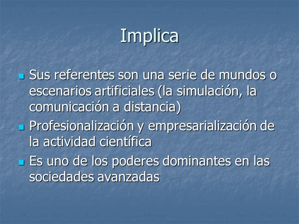 Implica Sus referentes son una serie de mundos o escenarios artificiales (la simulación, la comunicación a distancia)