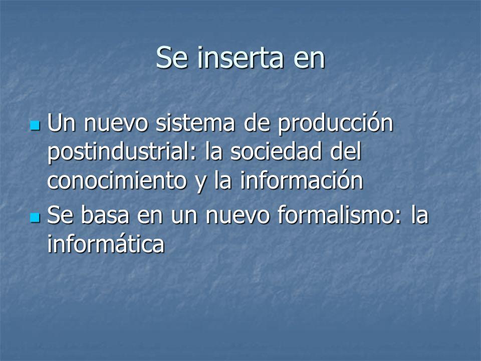 Se inserta en Un nuevo sistema de producción postindustrial: la sociedad del conocimiento y la información.