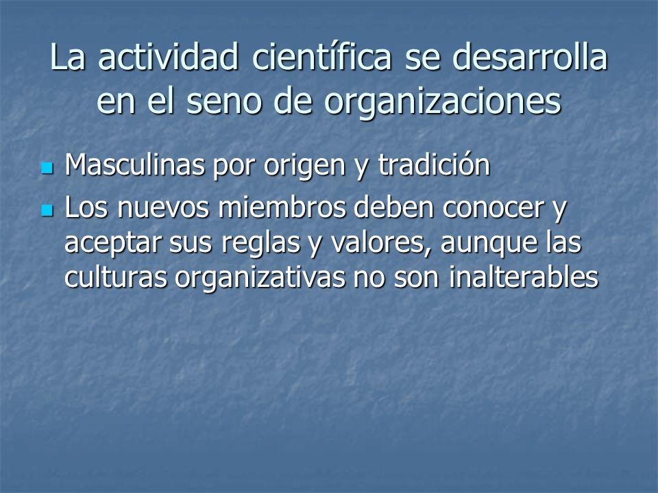 La actividad científica se desarrolla en el seno de organizaciones