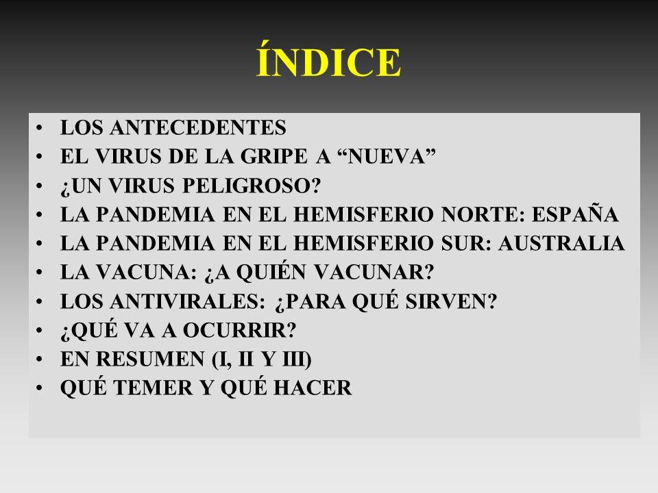 ÍNDICE LOS ANTECEDENTES EL VIRUS DE LA GRIPE A NUEVA