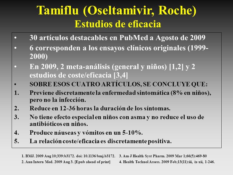 Tamiflu (Oseltamivir, Roche) Estudios de eficacia